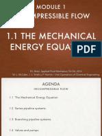 1.1 the Mechanical Energy Equation