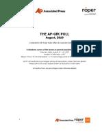 AP-GfK Poll August 18th Oil Spill Topline