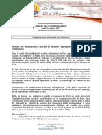 Compte Rendu Du Conseil Des Ministres - Jeudi 5 Octobre 2017