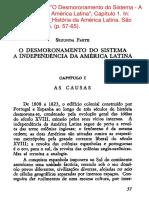 O DESMORONAMENTO DO SISTEMA A INDEPENDÊNCIA DA AMÉRICA LATINA