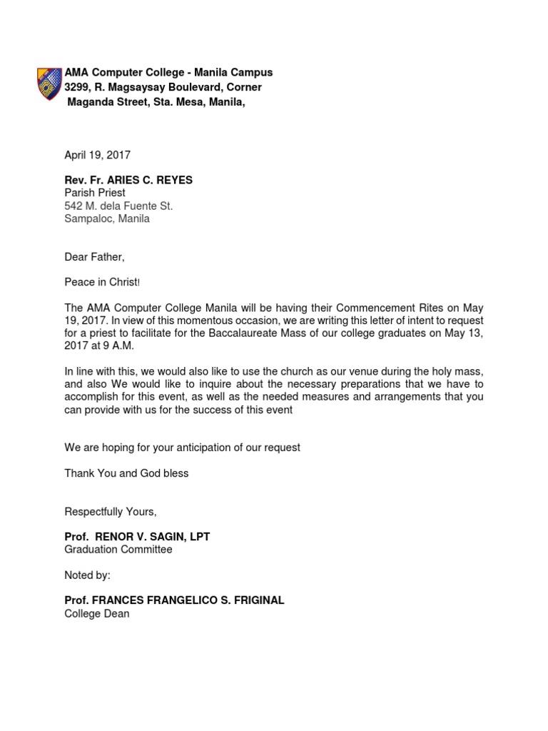 Request Letter For Church Venue