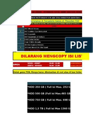 List Game Ps3 Jan '17 Wisnu | Resident Evil | Sekuel