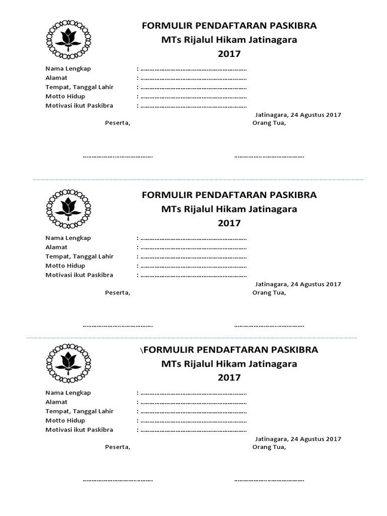 Formulir Pendaftaran Paskibra