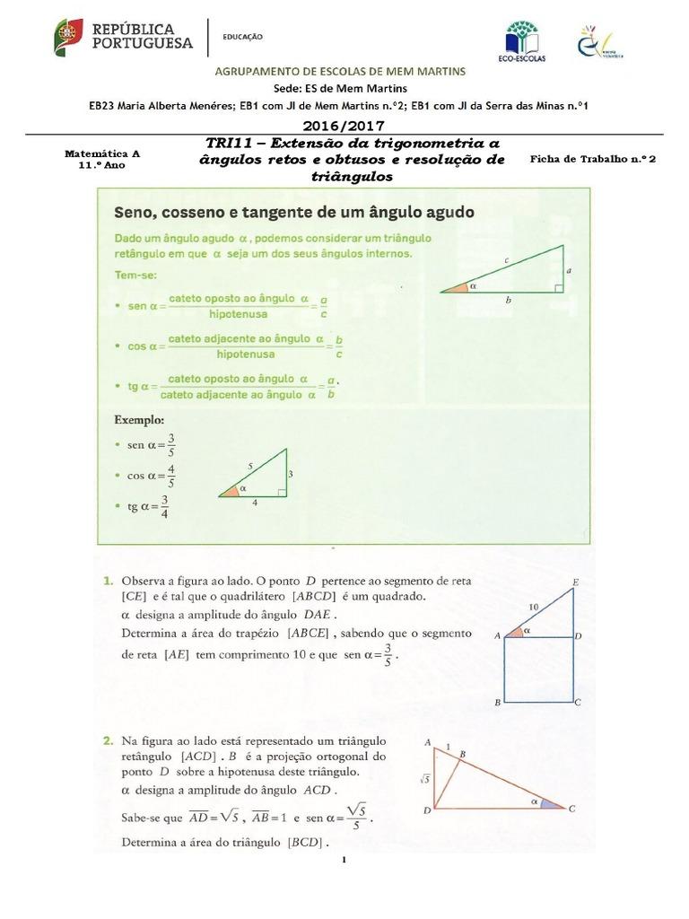 ft 02 tri11 extensão da trigonometria a Ângulos retos e Ângulos