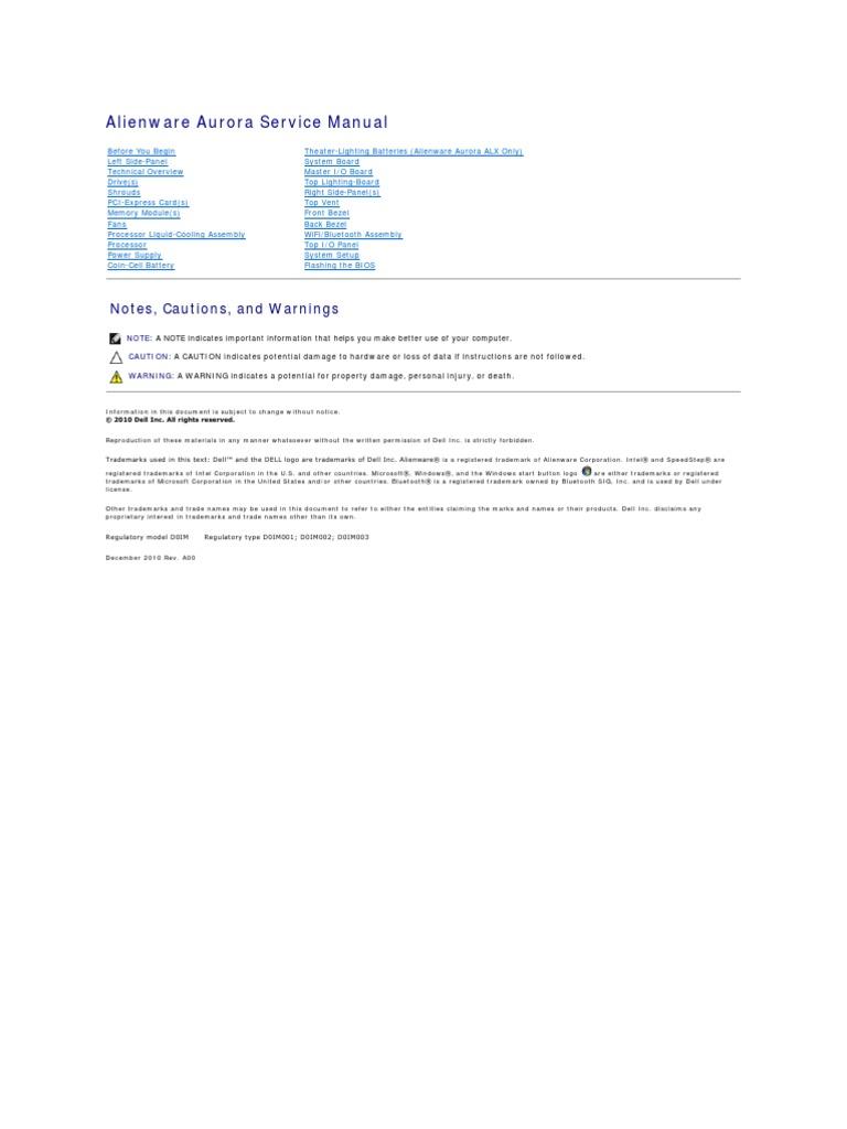 Alienware Aurora r3 Service Manual en Us | Electrical Connector | Ac