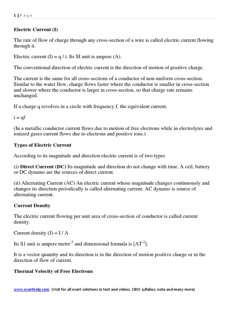 Download Physics Notes And Formulas For Class 12 Chapter 3 Current The From A Battery Is Direct Electricity Electrical Resistivity Conductivity Electric