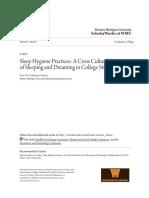 Sleep Hygiene Practices- A Cross Cultural Survey of Sleeping And