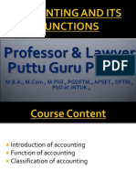 Functions of Accounting Gp3  by Professor & Lawyer   Puttu Guru Prasad