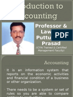 Introduction to Accounting Gp1  by Professor & Lawyer   Puttu Guru Prasad