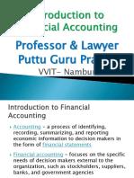 Introduction to Financial Accounting - Gp1  by Professor & Lawyer Puttu Guru Prasad