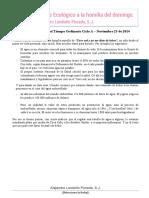 Aporte ecológico a la homilía del domingo - 23 Noviembre 2014 - Alejandro Londoño Posada, S.J.
