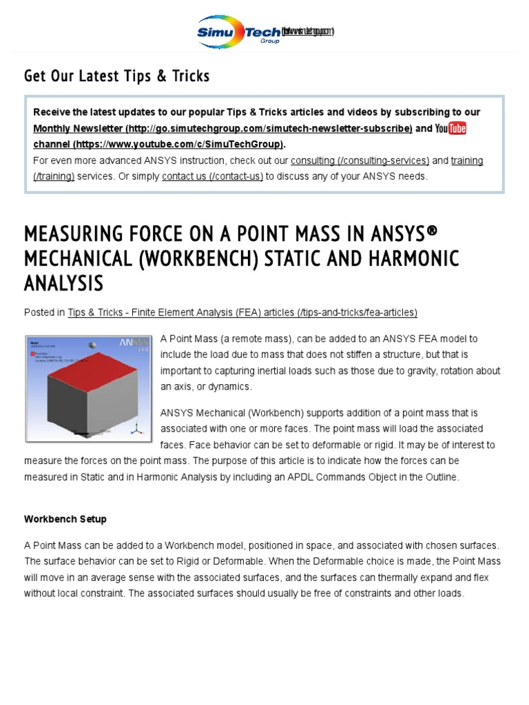 Measuring Force on a Point Mass in ANSYS® Mechanical (Workbench