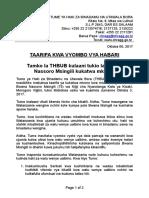 Tamko La THBUB Kulaani Tukio La Bwana Nassoro Msingili Kukatwa Mkono