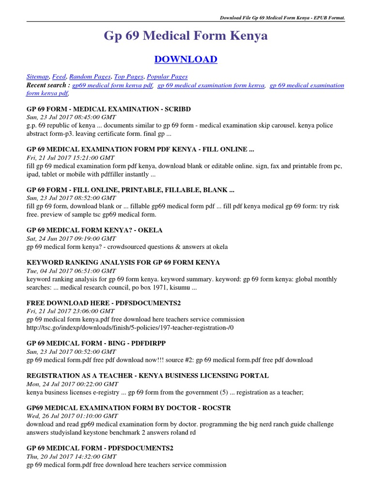 Gp 69 Medical Form Kenya.pdf | Portable Document Format | Technology