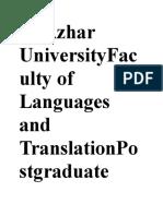 Al Azhar UniversityFaculty of Languages and TranslationPostgraduate StudiesEnglish DepartmentLinguistics Branch2