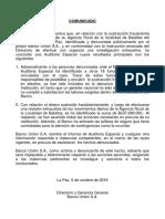 Comunicado del Banco Unión sobre el desfalfo de Bs 37,6 millones Docx