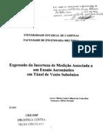 expressão da incerteza de mediçao associada a um ensaio aeronáutico em túnel de vendo subsonico