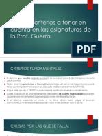 170816 PRIMERA CLASE Algunos Criterios Básicos Para Los Cursos Que Dicta La Prof. Guerra