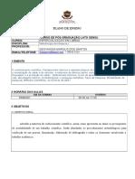 Plano de Ensino Pós-graduação Fmb (1) Metodologia Científica