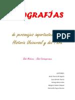 BIOGRAFÍAS  de personajes importantes de la Historia Universal y del Perú