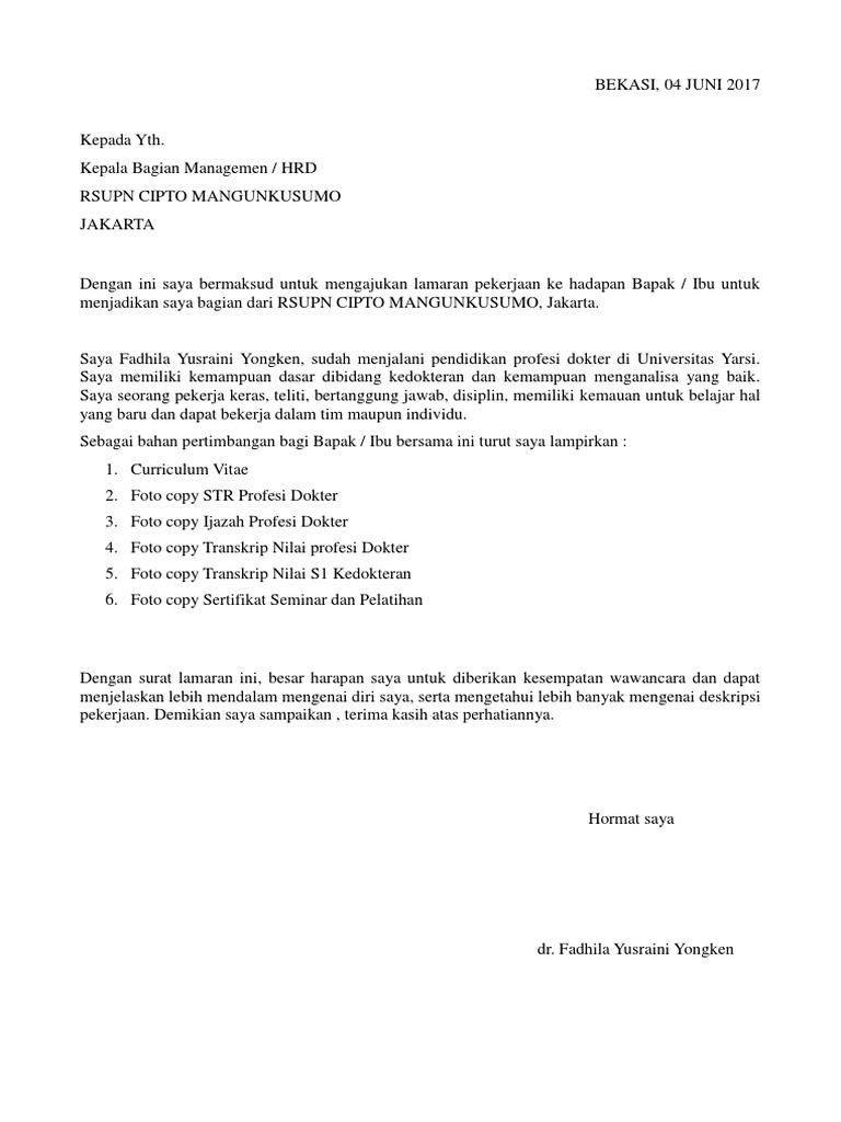 Surat Lamaran Rscm