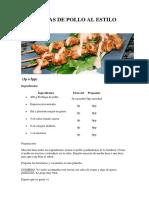 Brochetas de Pollo Al Estilo Kebab
