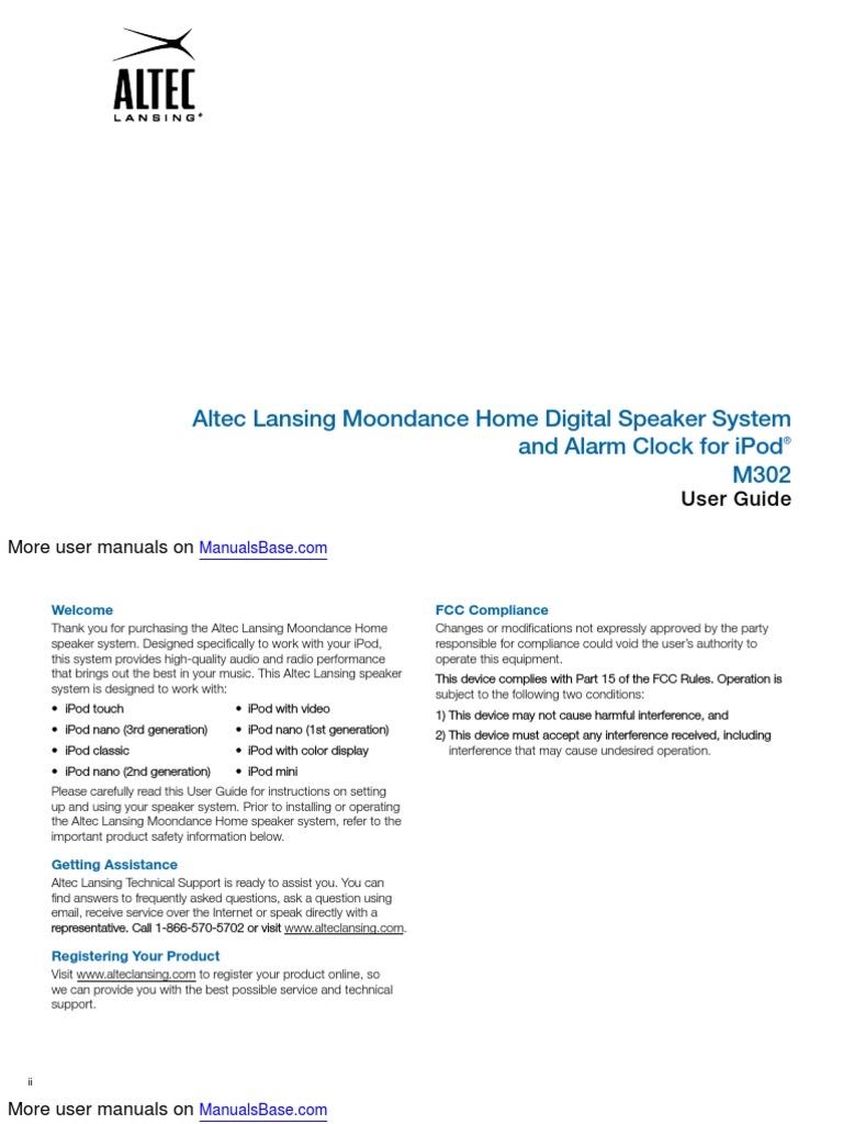 moondance home m302 1 i pod ac power plugs and sockets rh scribd com