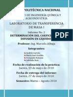 Informe 2 Determinacion Del Coeficiente de Difusion en Liquidos