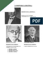 06. IIª República . Presidentes y Jefes de Gobierno