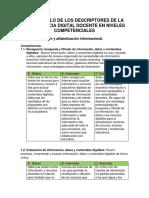Desarrollo de Los Descriptores de La Competencia Digital Docente en Niveles Competenciales