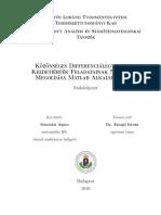 Macsotai Ágnes - Közönséges Differenciálegyenletek Kezdetiérték Feladatainak Numerikus Megoldása Matlab Alkalmazásával