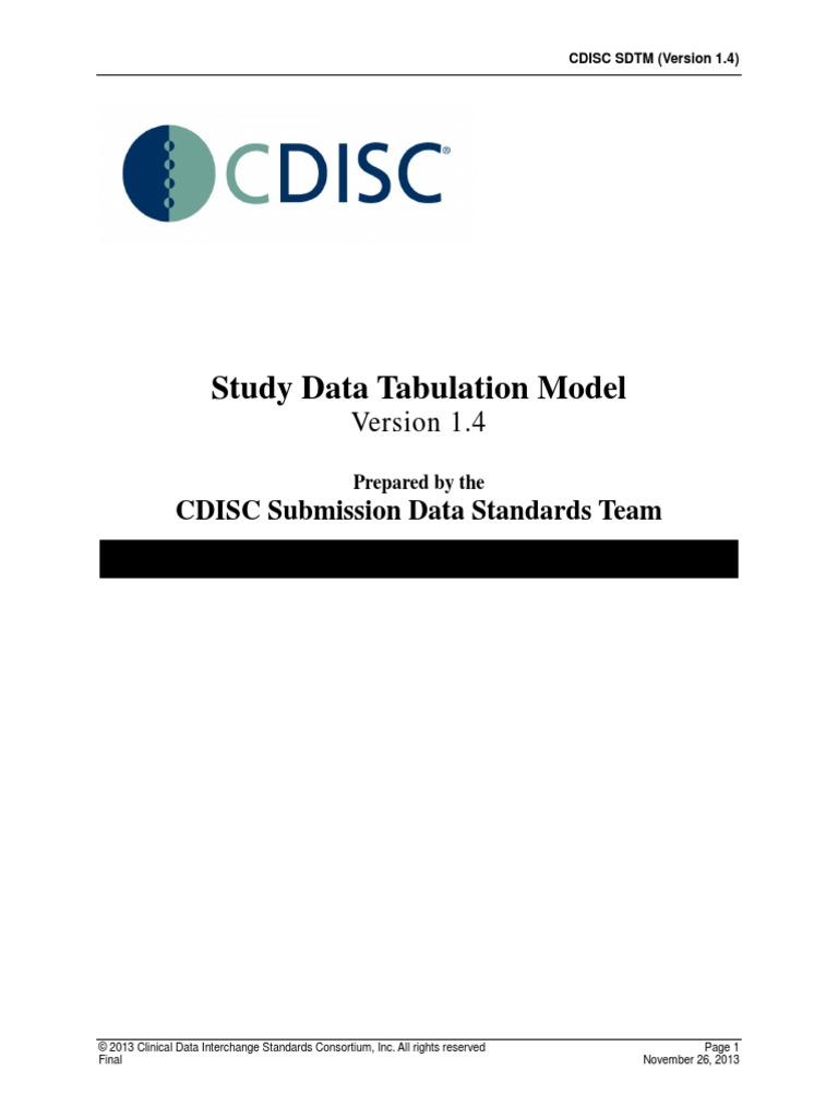 Study Data Tabulation Model: CDISC Submission Data