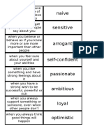 Vocabulary Focus 1A Character Adjectives