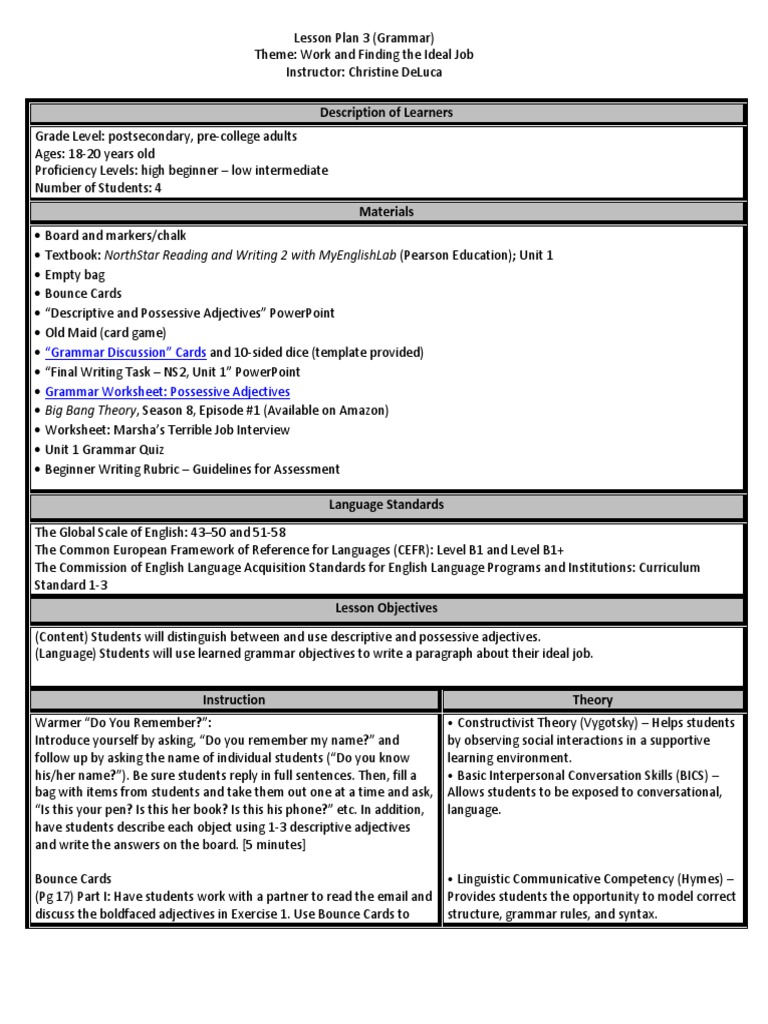 Fine Constructivist Lesson Plan Template Ideas - Example Resume ...