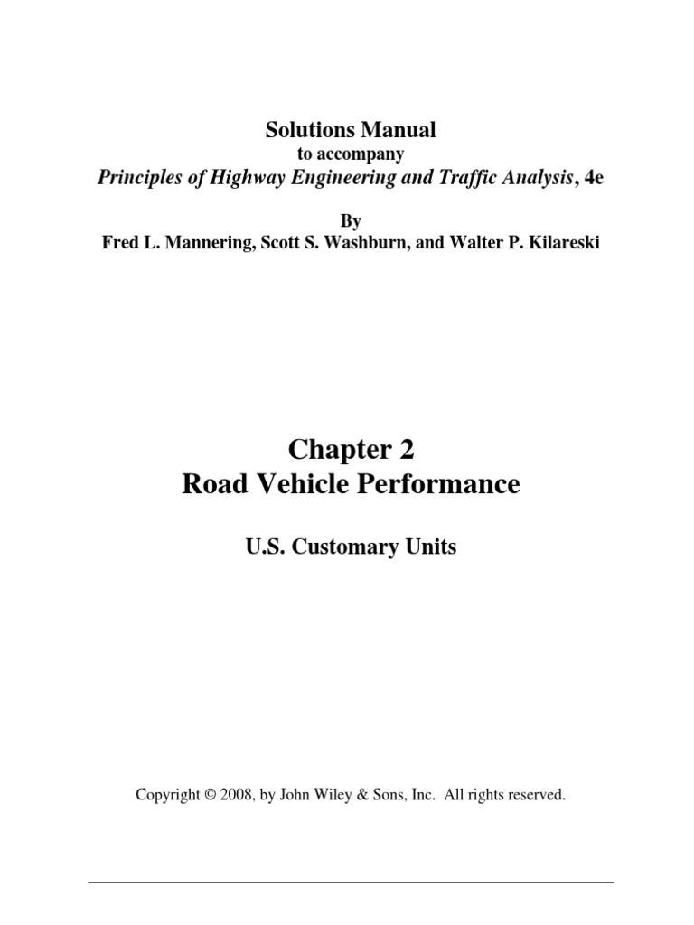 Solutions Manual - Principles of Highway Engineering and Traffic Analysis -  Mannering, Fred L. -4th Edn | Function (Mathematics) | All Rights Reserved