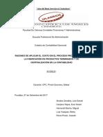 Razones de Aplicar El Costo en El Proceso Productivo Para La Fabricación de Productos Terminados y Su Centralización en La Contabilidad