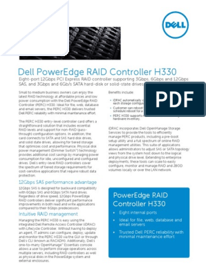 Dell PowerEdge RAID Controller H330   Solid State Drive