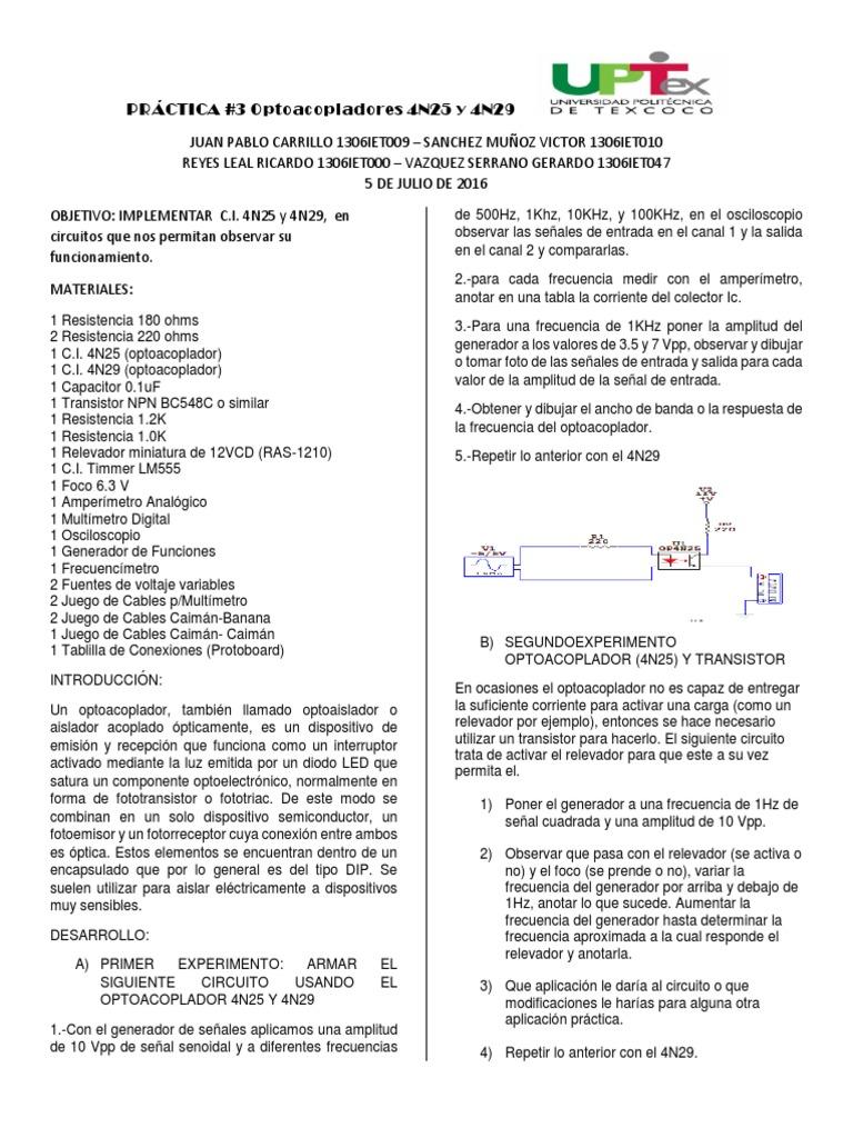 Circuito Optoacoplador : Practica tres padrinos