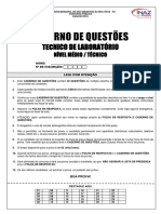 06 Caderno de Questões Técnico Laboratório Nível Médio Técnico