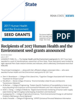 Recipients of 2017 Human Health and the Environment seed grants announced | Penn State University