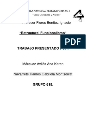 Estructural Funcionalismo Emile Durkheim Sociología