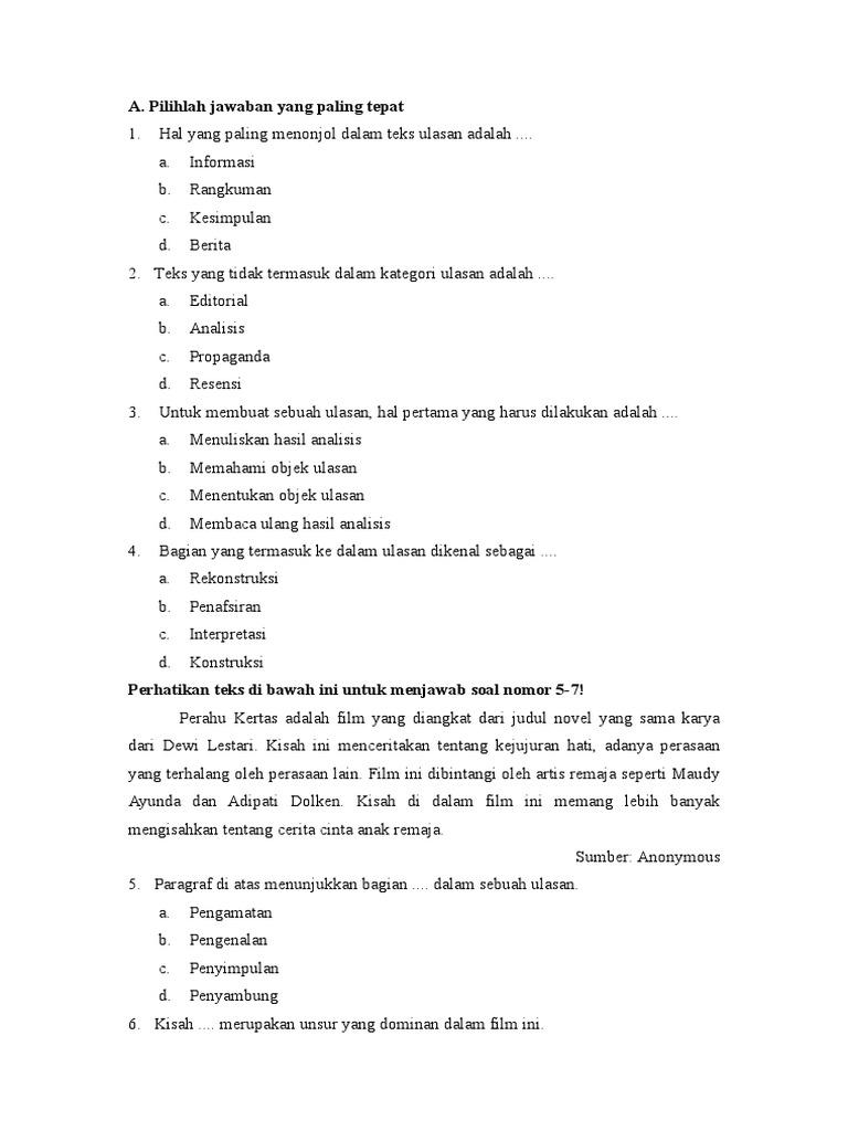 Fix Soal Dan Jawaban Kelas 8 Ulasan Doc
