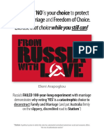 """""""FROM RUSSIA WITH LOVE"""" – AN ESSAY ON ONE NATION'S EXPERIMENT WITH MARRIAGE THAT DEMONSTRATES WHY VOTING 'YES' IS A CHOICE TO DECONSTRUCT FAMILY, MARRIAGE AND THE ROAD TO STATISM…AGAIN"""