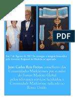 Condecoração do GRM ao agraciado João Calos Reis Freitas