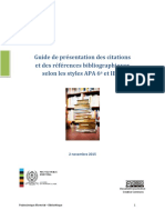 Guide de Presentation Des Citations Selon Le Style APA 6e