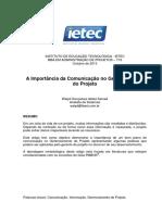 A Importancia Da Comunicacao No Gerenciamento Do Projeto Walyd Goncalves