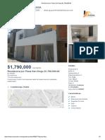 Residencia por Plaza San Diego $1,790,000