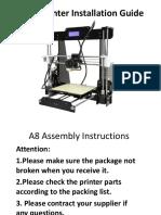 A8 3D Printer Installation Instructions-161230