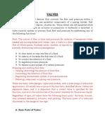 Valves Report Outline
