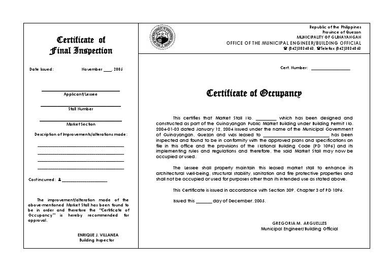 occupancy certificate building pdf code